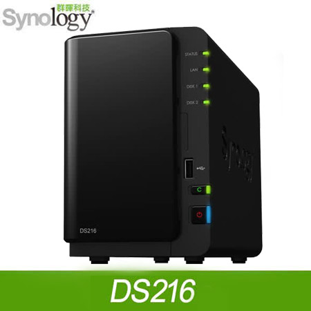 Synology 群暉 DS216 NAS 網路儲存伺服器