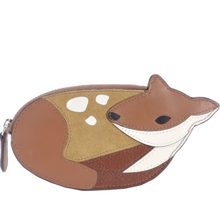 COACH 小鹿造型拼接皮革零錢包(咖)