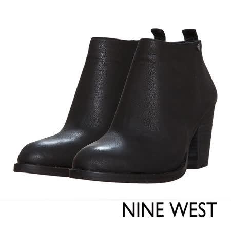 【好物分享】gohappy快樂購物網NINE WEST--簡約素雅質感真皮粗跟短靴--極簡黑推薦板橋 百貨 公司