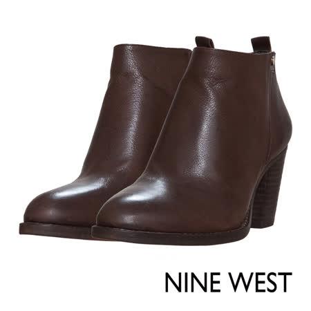 【真心勸敗】gohappyNINE WEST--簡約素雅質感真皮粗跟短靴--溫暖咖效果大 遠 百 電影院