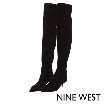 NINE WEST--冬日優雅尖頭過膝長靴--極簡黑