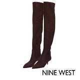 NINE WEST--冬日優雅尖頭過膝長靴--溫暖咖