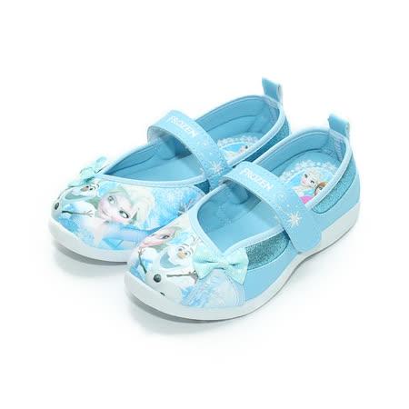 (中大童) 冰雪奇緣 黏帶休閒鞋 水藍 鞋全家福