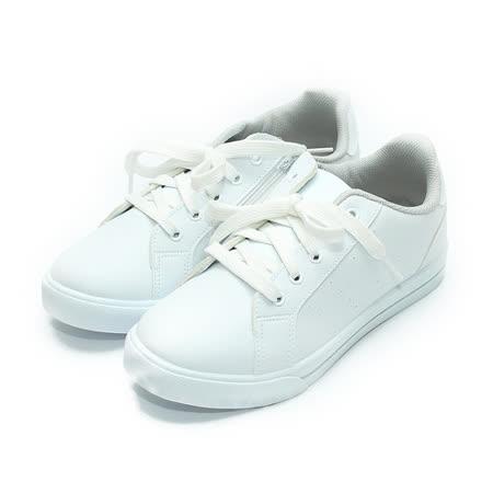 (中大童) FUH KEH 素色綁帶休閒鞋 白 鞋全家福