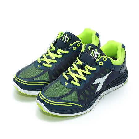 (男) DIADORA 2986無縫輕量慢跑鞋 藍綠 鞋全家福