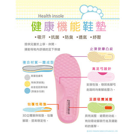 TOPUONE(14-19cm)3D腳床型健康抗菌防臭透氣吸汗吸震減壓機能鞋墊 6601-粉