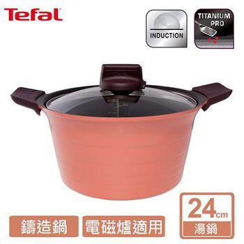 Tefal法國特福 御釜鑄造系列24CM 湯鍋 (附玻璃鍋蓋及矽膠隔熱手套) C7114614