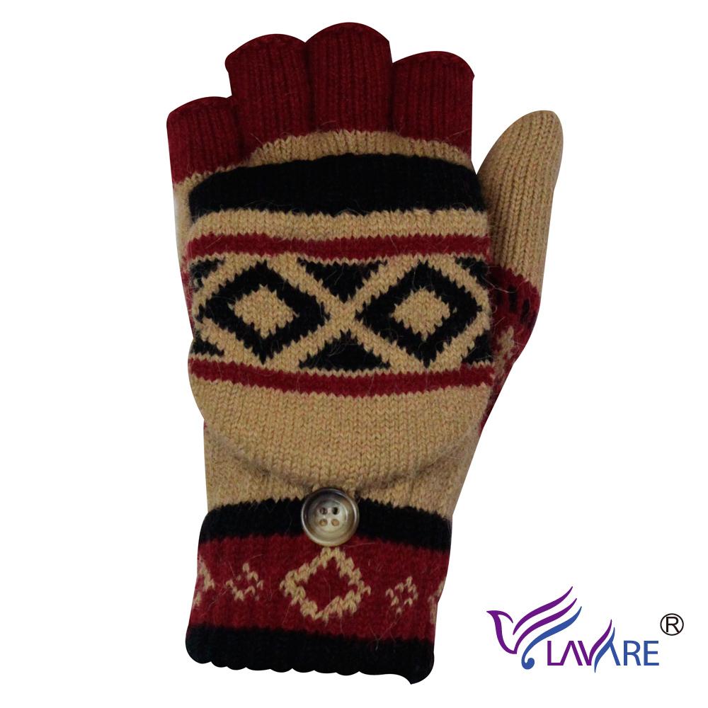 LAVARE~半指戴帽手套 原住民圖紋卡其