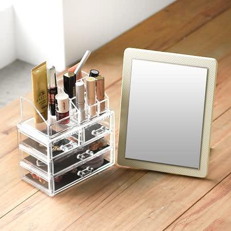 《Peachy life》高質感壓克力化妝收納盒+點點立鏡組/小物飾品收納