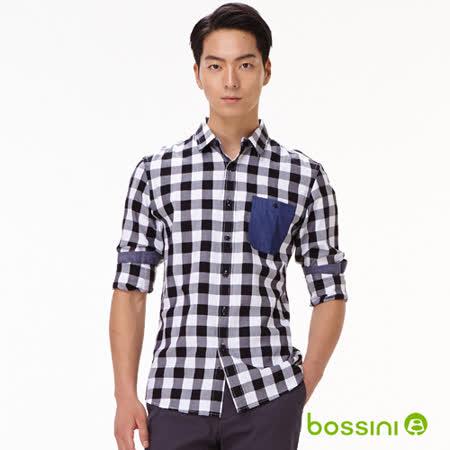 bossini男裝-格紋長袖襯衫12白