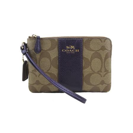 COACH 送原廠提袋- L型手拿包(卡其紫)