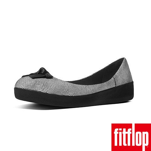 FitFlop™-(女款)SUPERBALLERINA™ PRETTY BOW-蛇紋黑