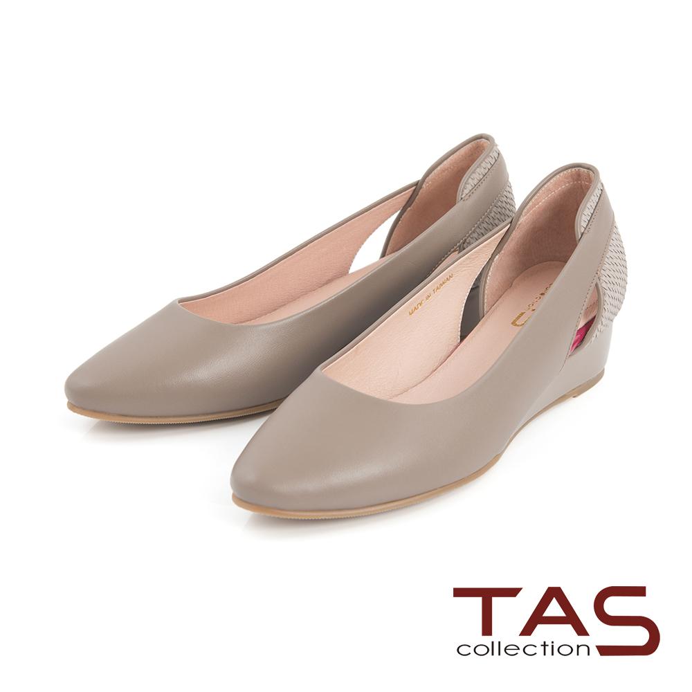 TAS 素面側鏤空後跟鱗片紋拼接楔型鞋-知性灰