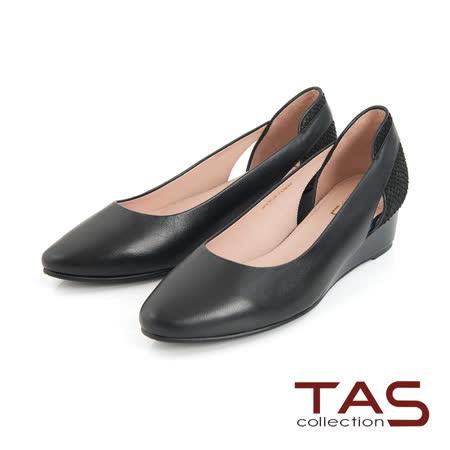 TAS 素面側鏤空後跟鱗片紋拼接楔型鞋-時尚黑