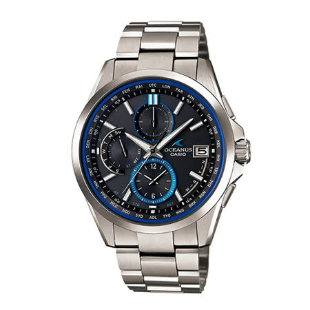 【CASIO 卡西歐】OCEANUS 高科技太陽能湛藍碳鈦金屬電波腕錶(42.8mm/OCW-T2600-1A)