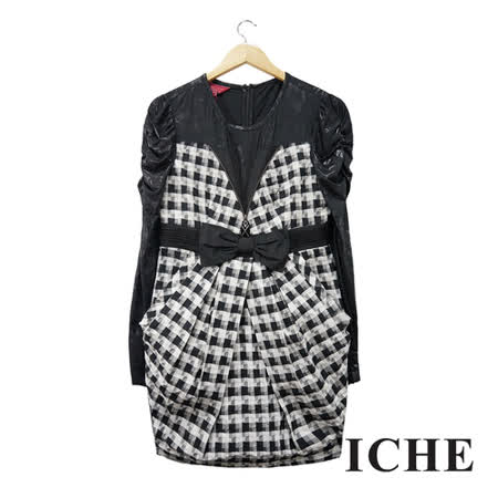ICHE衣哲 黑色拼接格紋洋裝
