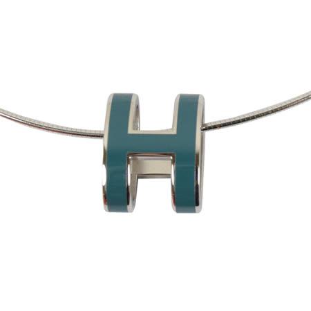 HERMES 時尚配件經典H LOGO橢圓銀飾項鍊.銀/藍綠