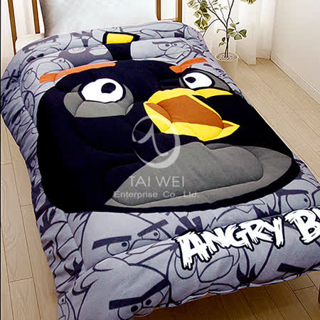 ANGRY BIRDS憤怒鳥【射擊遊戲系列-黑鳥】 暖暖厚毯被