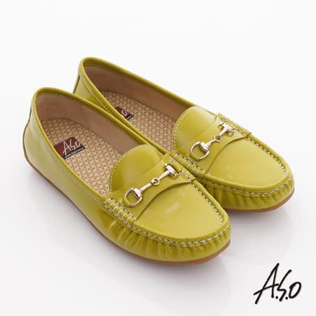 【好物推薦】gohappy線上購物【A.S.O】舒壓耐走 全真牛皮金屬釦環莫卡辛平底鞋(淺綠)評價如何桃園 中山 路 愛 買