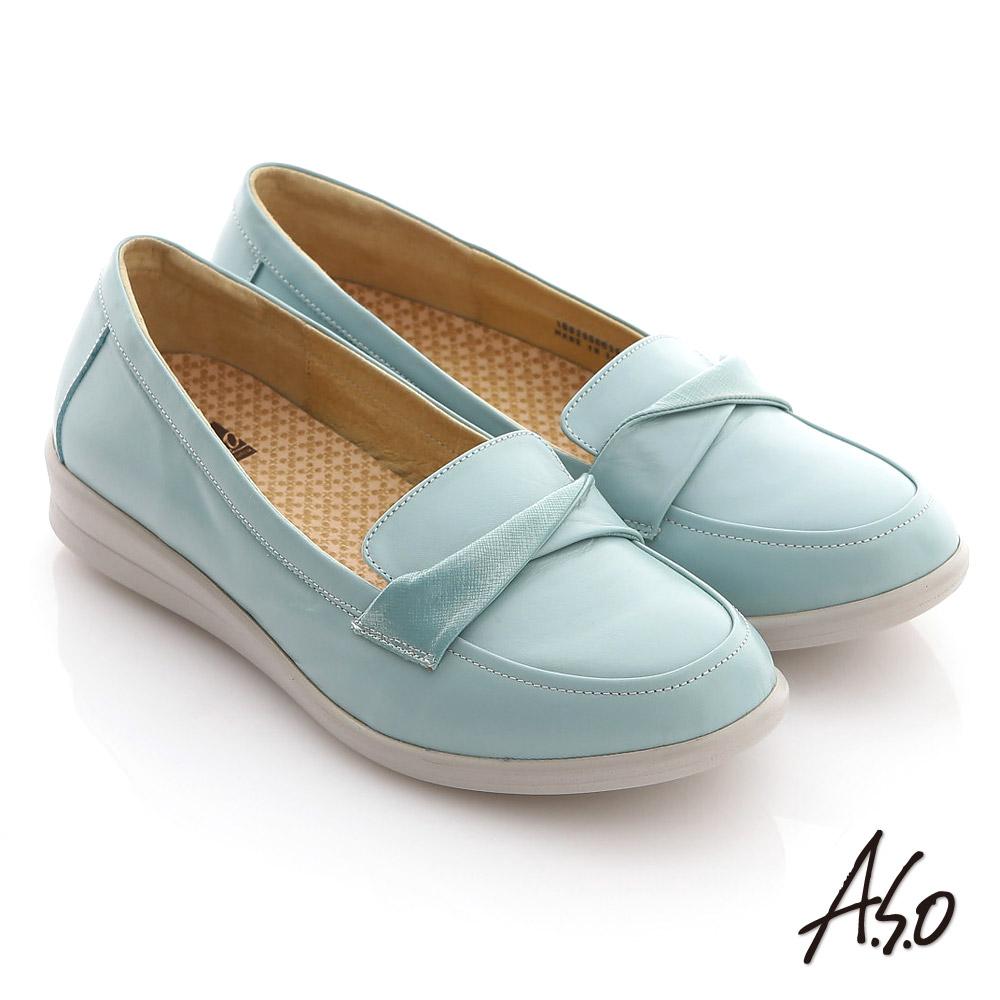 【A.S.O】舒適通勤 全真皮打摺帶飾奈米平底鞋(淺藍)