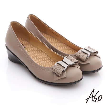 【好物推薦】gohappy線上購物【A.S.O】舒適通勤 真皮蝴蝶結奈米彈力平底鞋(米)效果如何大 遠 百 餐廳