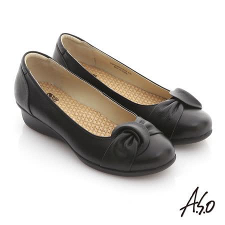 【網購】gohappy 線上快樂購【A.S.O】舒適通勤 全牛皮扭結氣墊休閒鞋(黑)有效嗎快樂 購 客服 電話