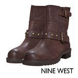 NINE WEST--中性型格鉚釘低跟軍靴--帥氣咖