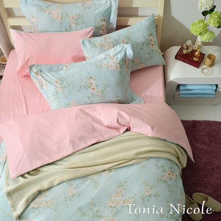 【Tonia Nicole東妮寢飾】綠堤浮卉精梳棉兩用被床包組(加大)