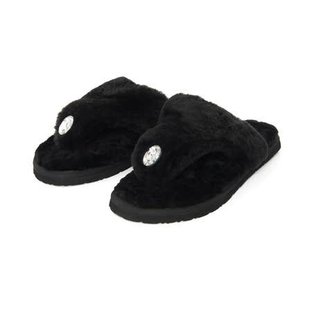TAS 奢華水鑽羊毛夾腳室內拖鞋-時尚黑