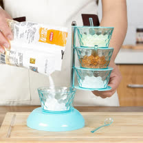 PUSH! 餐具廚房用品 360度4層調味瓶廚房調味料油鹽調味罐儲物罐D89