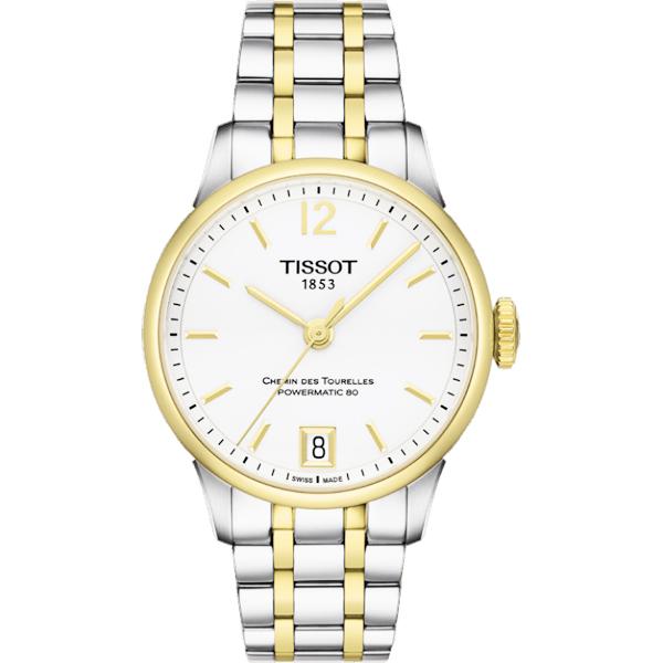 TISSOT 天梭 杜魯爾系列機械動力80女錶~白x雙色32mm T09920722037