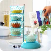 PUSH! 餐具廚房用品 360度5層調味瓶廚房調味料油鹽調味罐儲物罐D90