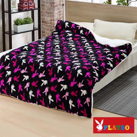 【PLAYBOY】黑曜時尚 特級羊羔絨加厚舖棉保暖毯被