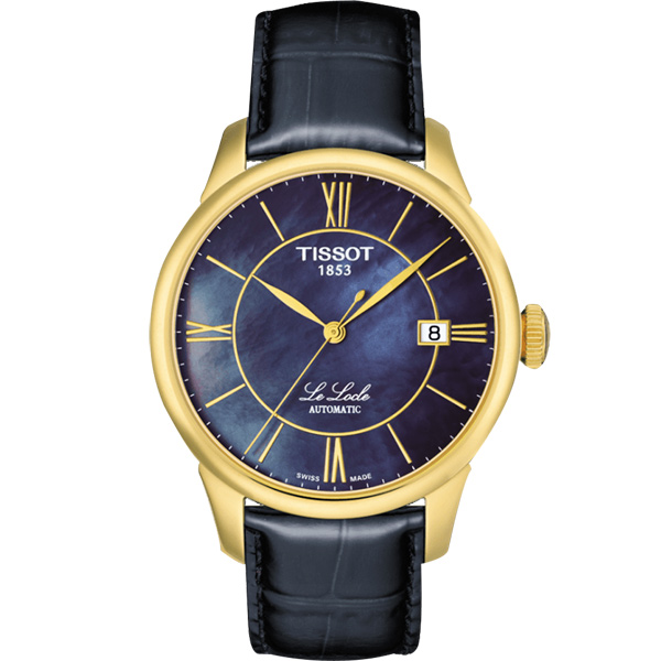 TISSOT 天梭 力洛克羅馬機械腕錶~珍珠貝x黑39mm T41542393