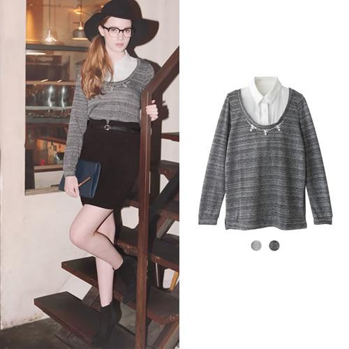 ANNA LUNA ~VIVI雜誌款 假兩件領口珠寶裝式襯衫上衣^(共兩色^)
