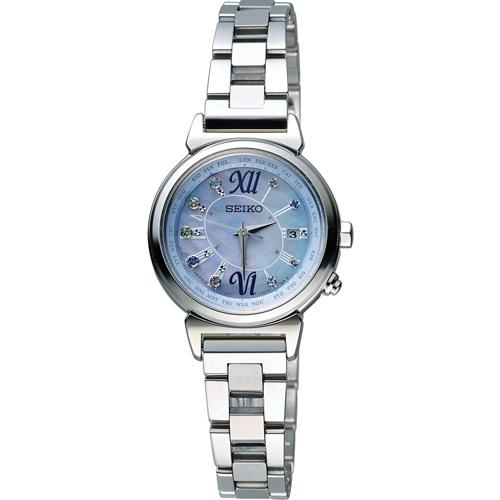 SEIKO 精工 LUKIA 綺麗旅程 太陽能電波腕錶 1B25~0AF0B 藍色 SSV
