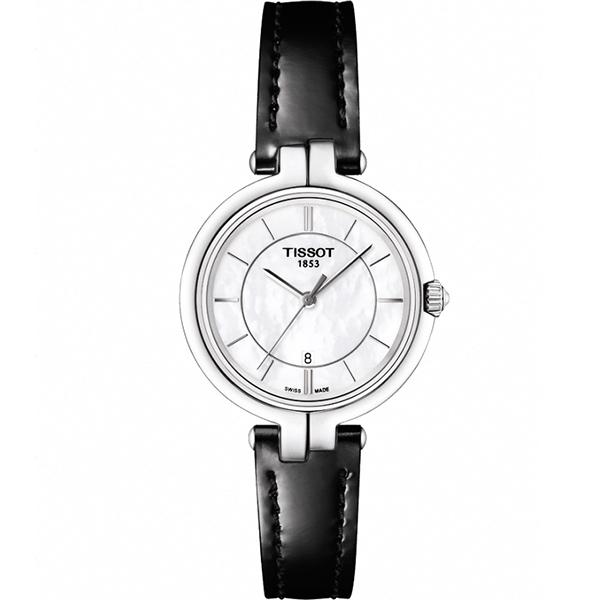 TISSOT 天梭 Flamingo 純粹石英女錶~珍珠貝x黑26mm T09421016