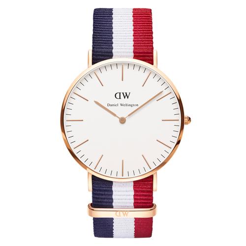 DW Daniel Wellington 藍白紅帆布錶帶~金框40mm^(0103DW^)