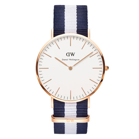 【勸敗】gohappy線上購物DW Daniel Wellington 經典藍白帆布錶帶-金框/40mm(0104DW)好嗎happy go 購物 金