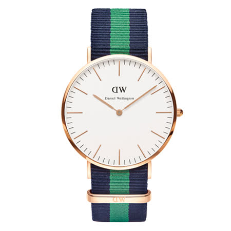 DW Daniel Wellington 經典藍綠帆布腕錶-金框/40mm(0105DW)