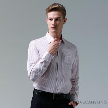 ROBERTA諾貝達 台灣製 合身版 純棉雙色條紋長袖襯衫 粉紅