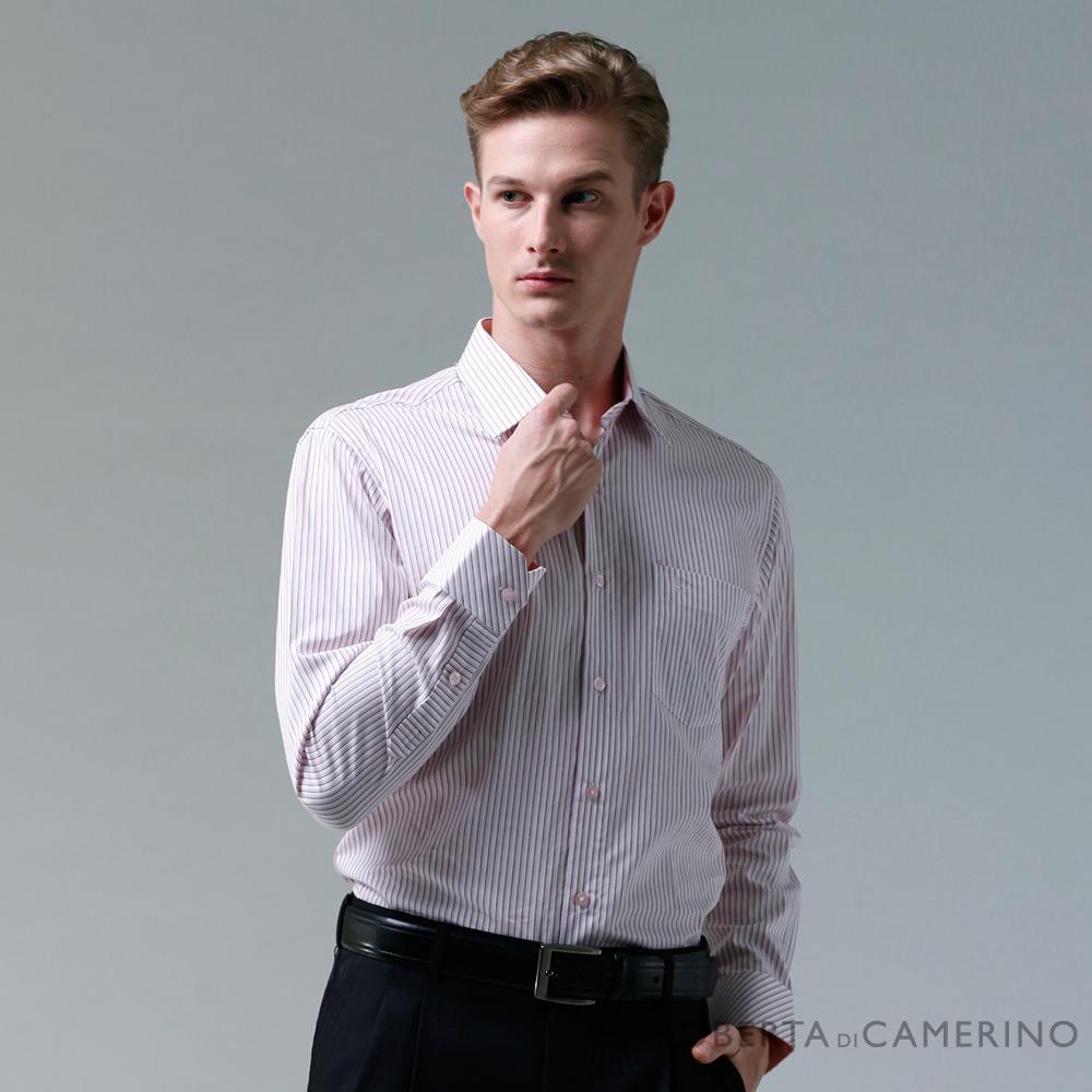 ROBERTA諾貝達 製 合身版 純棉雙色條紋長袖襯衫 粉紅