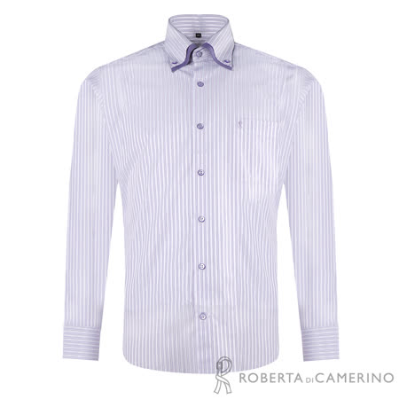 ROBERTA諾貝達 台灣製 合身版 簡約條紋長袖襯衫 淺紫