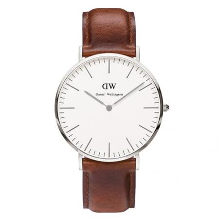 DW Daniel Wellington 時尚棕色皮革腕錶-銀框/40mm(0207DW)