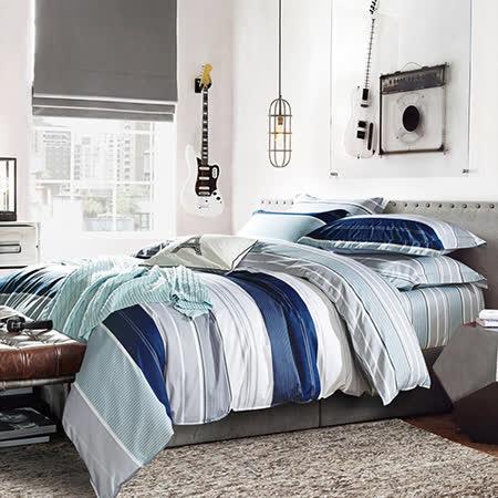 【Betrise】加大-環保印染防蹣抗菌精梳棉四件式兩用被床包組-(生活曲調)