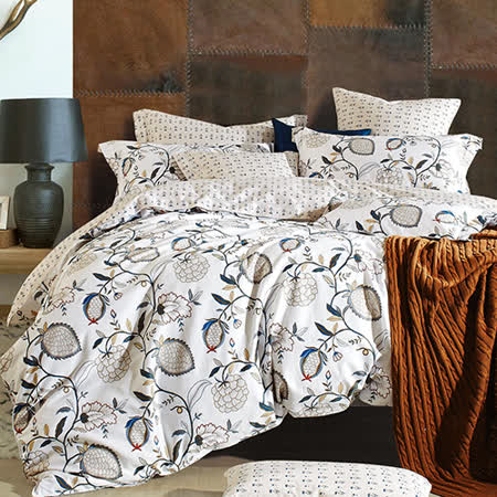 【Betrise】加大-環保印染防蹣抗菌精梳棉四件式兩用被床包組-(夢落花開)