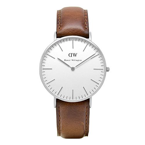 DW Daniel Wellington 棕色皮革腕錶~銀框36mm^(0607DW^)