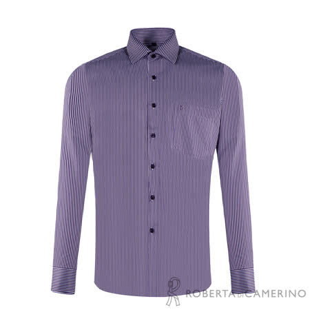ROBERTA諾貝達 台灣製 合身版 雙色條紋長袖襯衫 紫色