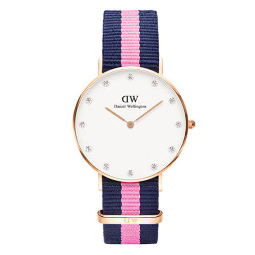 DW Daniel Wellington 施華洛世奇水晶藍粉紅帆布腕錶~金框34mm^(0