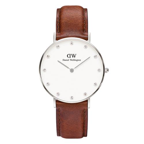 DW Daniel Wellington 施華洛世奇水晶棕色皮革腕錶~銀框34mm^(09